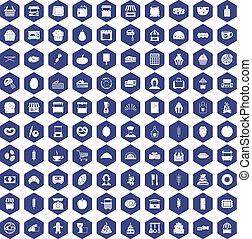 100 bakery icons hexagon purple