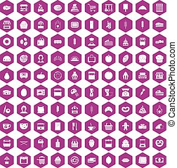 100 bakery icons hexagon violet