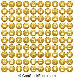 100 bakery icons set gold