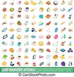 100 bakery icons set, isometric 3d style
