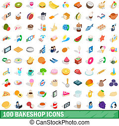 100, bakeshop, icônes, ensemble, isométrique, 3d, style