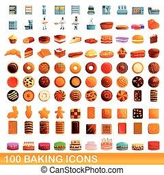 100 baking icons set, cartoon style