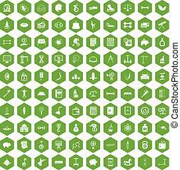 100 balance icons hexagon green