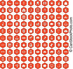 100 balance icons hexagon orange