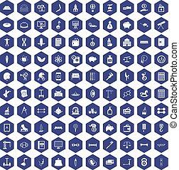 100 balance icons hexagon purple