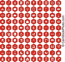 100 balance icons hexagon red