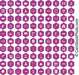 100 balance icons hexagon violet