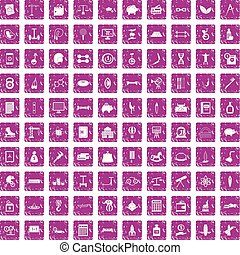 100 balance icons set grunge pink