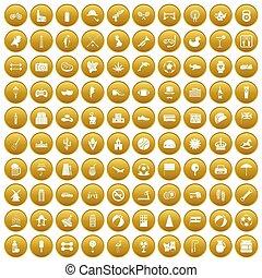 100 ball icons set gold