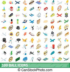 100 ball icons set, isometric 3d style
