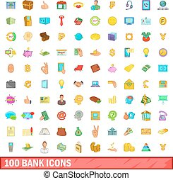 100 bank icons set, cartoon style