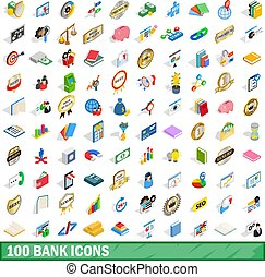 100 bank icons set, isometric 3d style