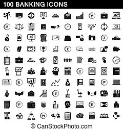 100, banque, icônes, ensemble, simple, style