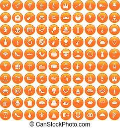 100 banquet icons set orange