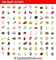 100 bar icons set, isometric 3d style