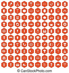 100 barbecue icons hexagon orange