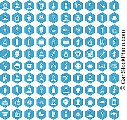 100 barber icons set blue