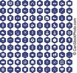 100 baseball icons hexagon purple