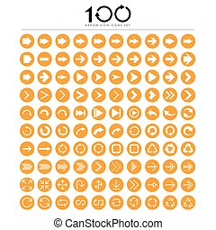 100 Basic arrow sign icons set