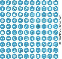 100 basketball icons set blue