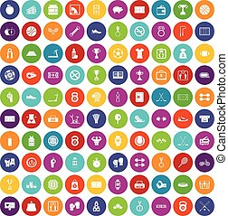 100 basketball icons set color