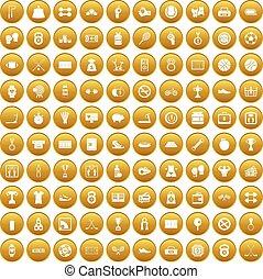100 basketball icons set gold