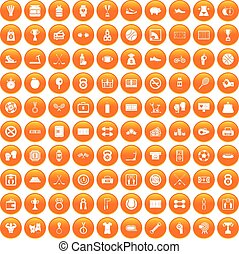 100 basketball icons set orange