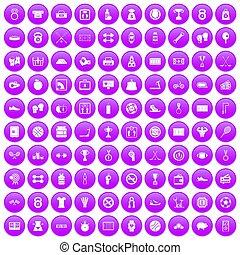 100 basketball icons set purple