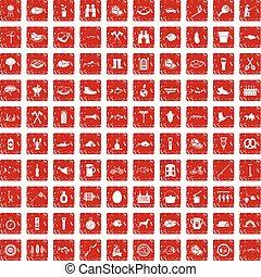 100 BBQ icons set grunge red