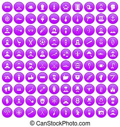 100 beard icons set purple