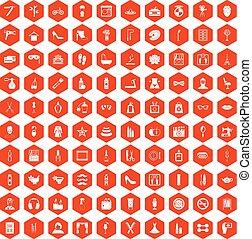 100 beauty and makeup icons hexagon orange