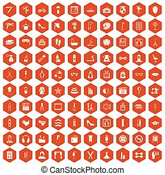 100 beauty and makeup icons hexagon orange