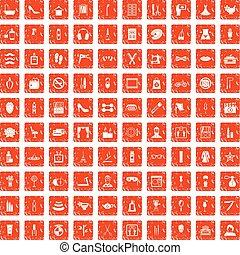 100 beauty and makeup icons set grunge orange