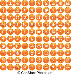 100 beauty and makeup icons set orange