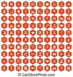 100 beauty salon icons hexagon orange