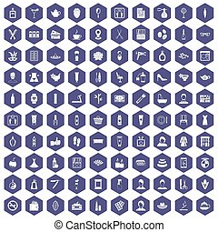 100 beauty salon icons hexagon purple