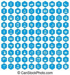 100 beauty salon icons set blue