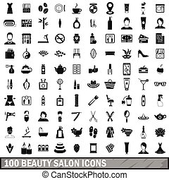 100 beauty salon icons set in simple style