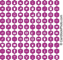 100 beer icons hexagon violet