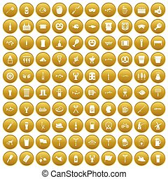 100 beer icons set gold