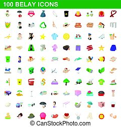 100 belay icons set, cartoon style