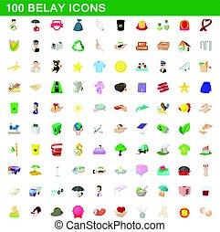 100 belay icons set, cartoon style