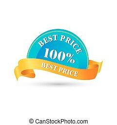 100%, best, prijs label