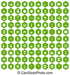 100 beverage icons hexagon green