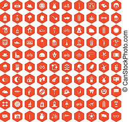 100 bicycle icons hexagon orange