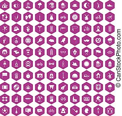 100 bicycle icons hexagon violet