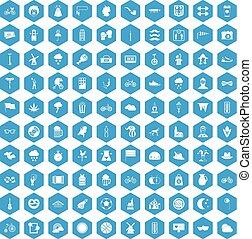 100 bicycle icons set blue