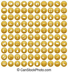 100 bicycle icons set gold