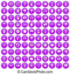 100 bicycle icons set purple
