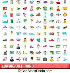 100 big city icons set, cartoon style